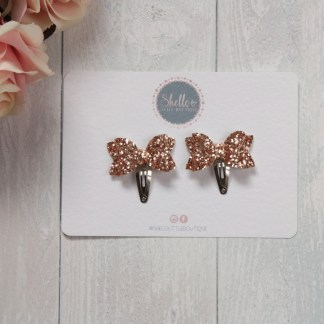 rose gold glitter mini bow snap clips