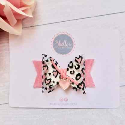 pink leopard hearts hair bow