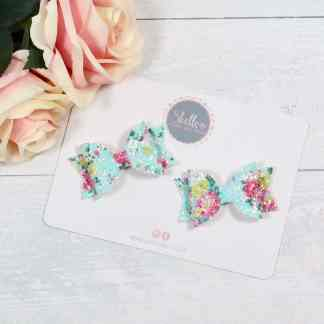 small floral hair bow set