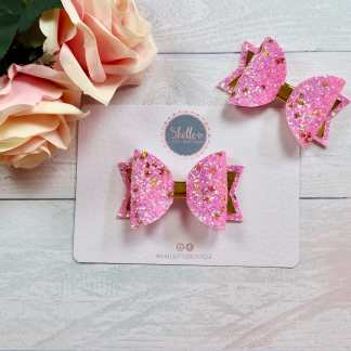 pink and gold butterfly hair bow