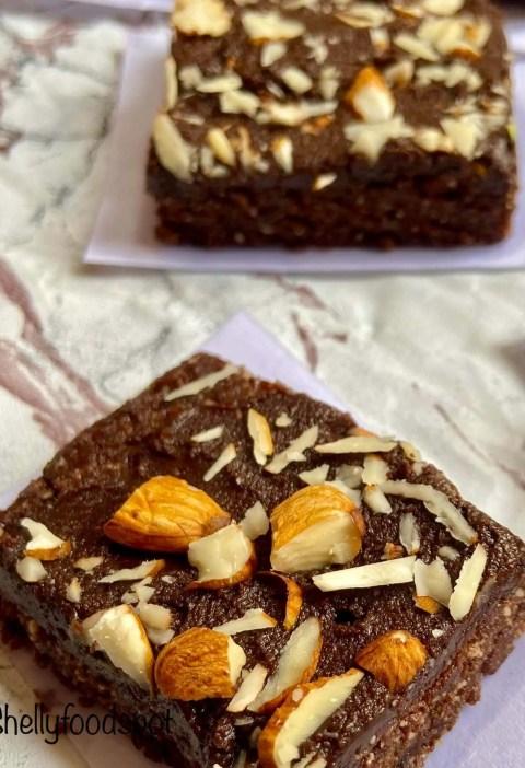 No bake healthy brownies recipe (eggless, gluten free)