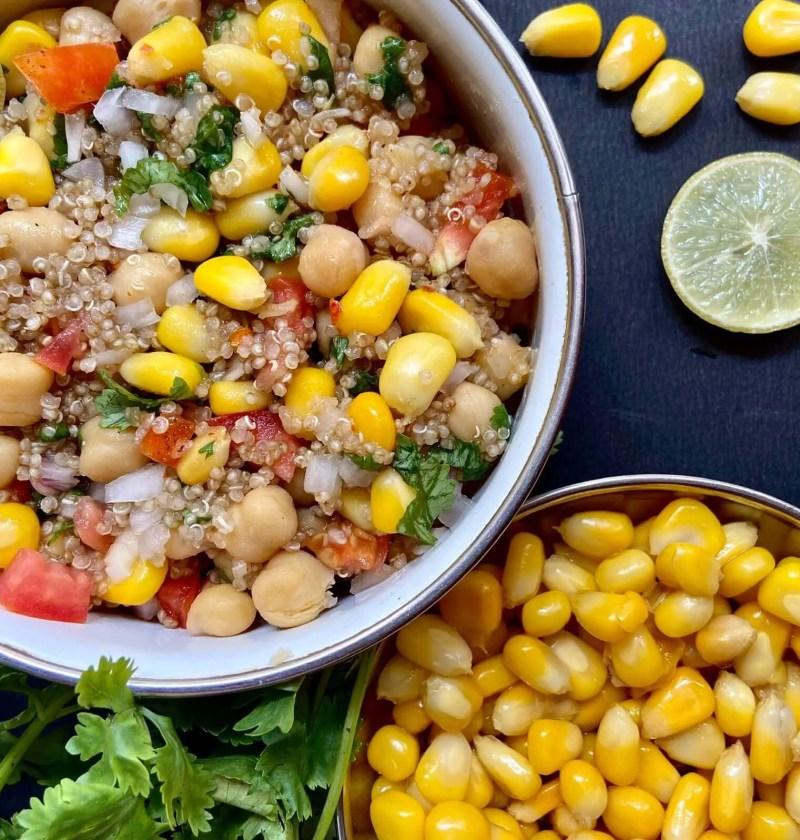 Quinoa salad recipe with corns and chickpea