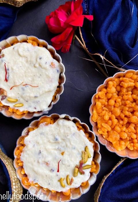 Boondi tart with rabri|Sweet boondi with rabri