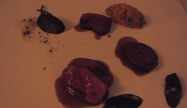 Venison with Venison sausage, Sweet Potato and Mashed Potato with Chocolate