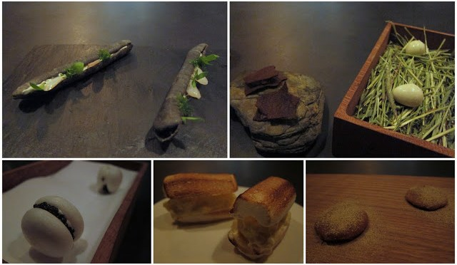 From top left, going clockwise: Squid Ink Baguette in the shape of a Razor Clam, served with Razor Clams, Picked Quail Egg with malt crackers, Flax Seed Cookies, a play on Lobster Rolls (toasted meringue), and Caviar Macaron