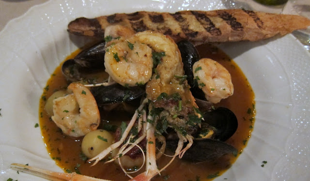 BRODETTO DI PESCE - adriatic seafood soup, clams, langoustine, scallop, prawns, bass