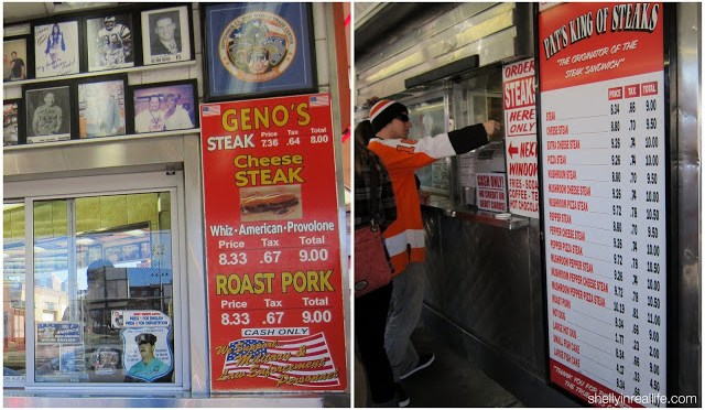 The menus at Pat's and Geno's