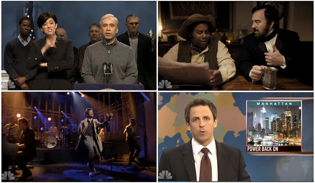 """From Upper Left, going clockwise: Parody of the Sign Languageinterpreterof all of Bloomberg's hurricane speeches, Louis C.K. acting as Lincoln, The Weekend Update, and Fun. performing """"Some Nights"""""""