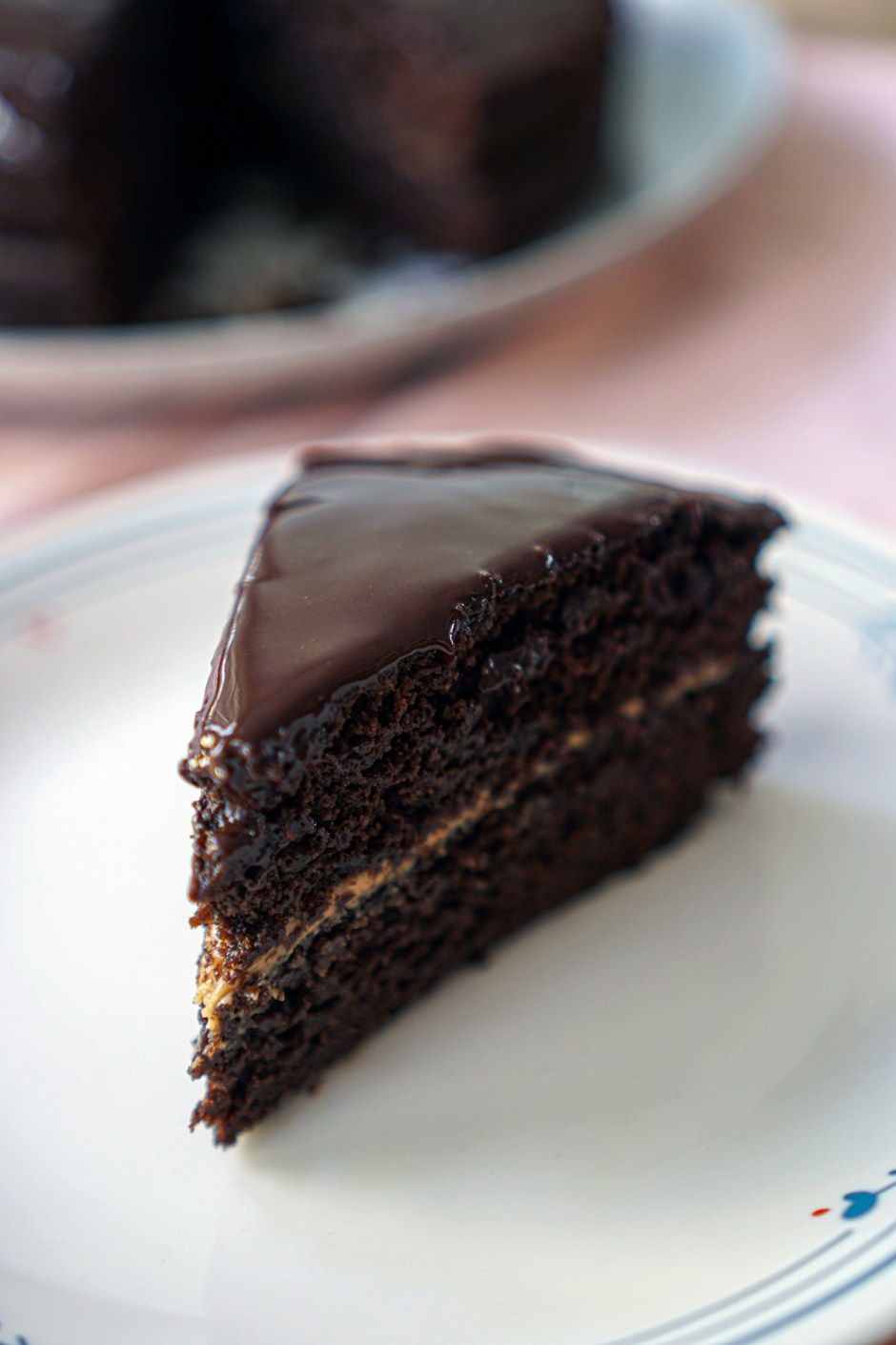 Double chocolate cake with peanut butter