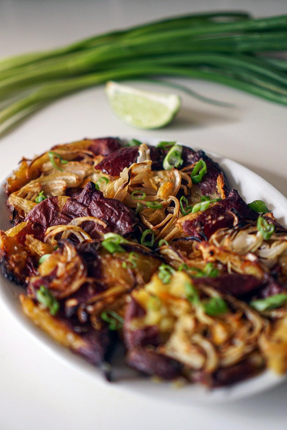 Smashed yams with crispy onions