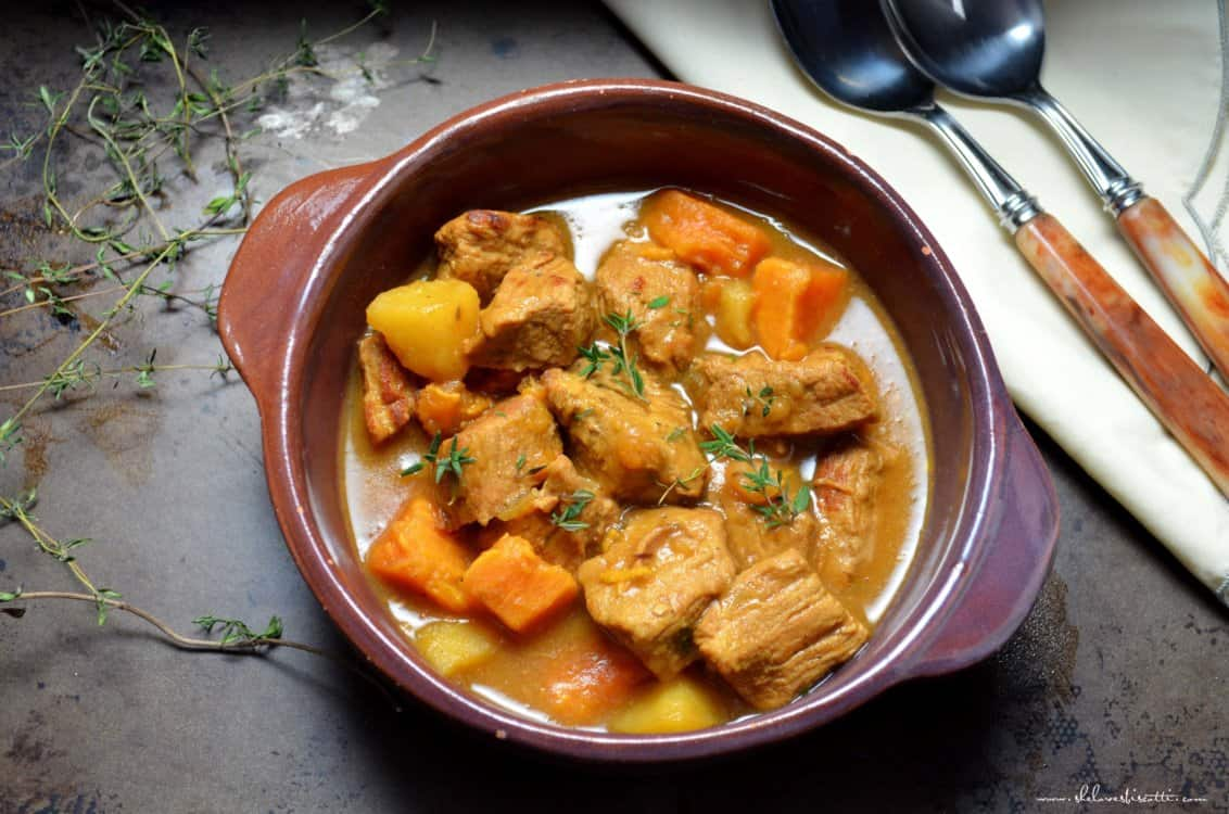 A bowl of Easy Vegetable Veal Stew