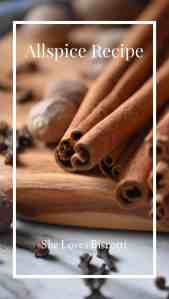 A close up of whole nutmeg, long cinnamon sticks and cloves; 3 essential ingredients to make this allspice recipe.