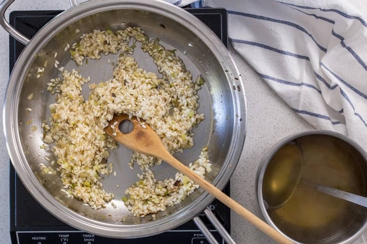 The gradual addition of hot liquid to arborio rice is necessary to make the best risottto.