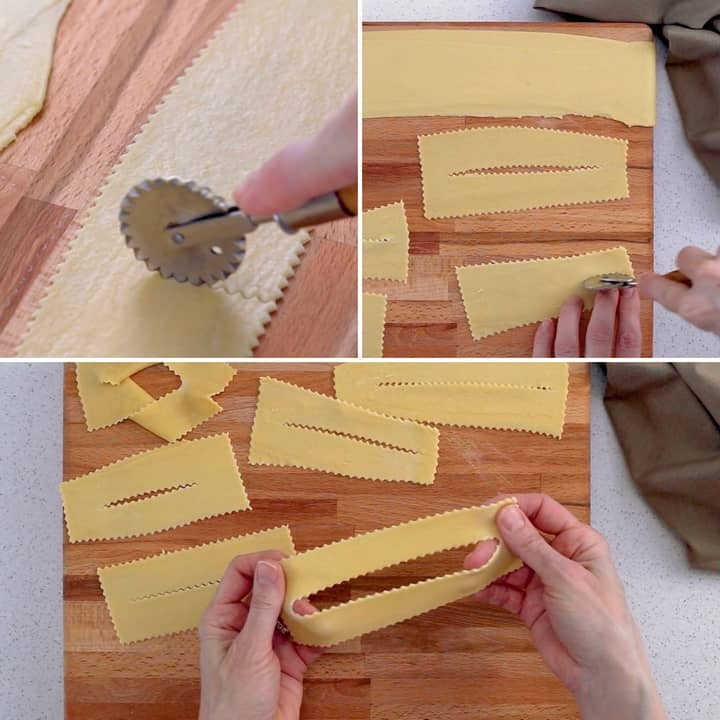 A photo collage depicting how the Crostoli dough is cut with a fluted pastry cutter. They look like ribbons hence the name Italian ribbon cookies.