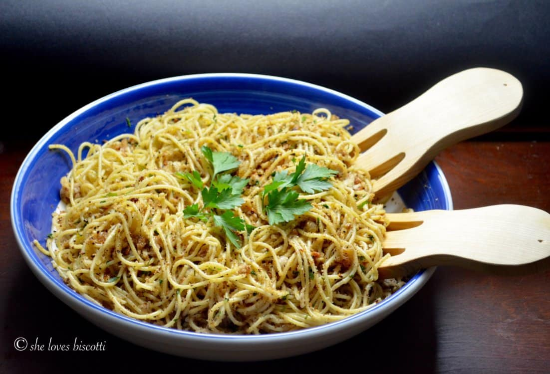 A large serving bowl of Saint Josephs Day Spaghetti Recipe