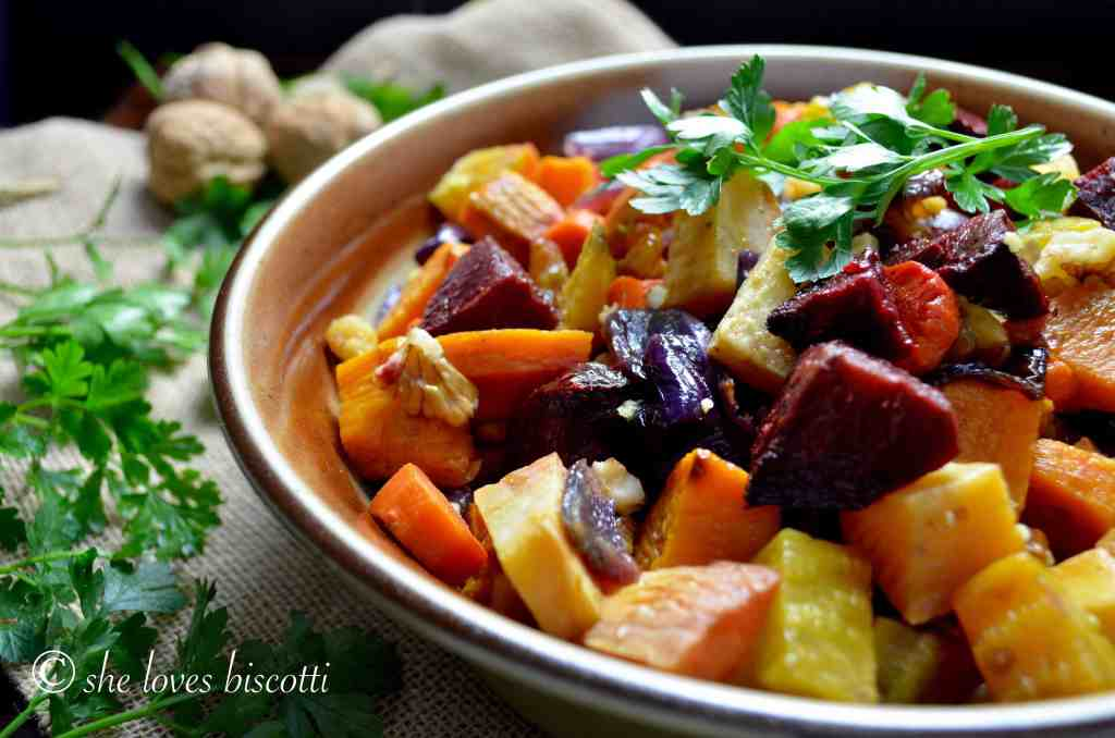 Beets and turnips, along with a medley of root vegetables in a dish.