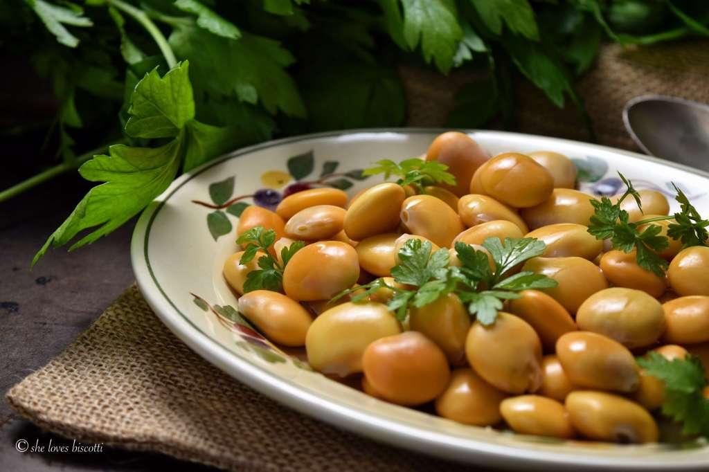 A plate of Italian Lupini Beans