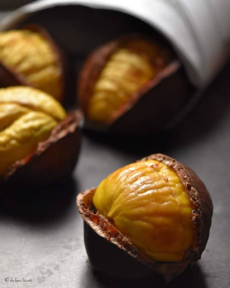 A close up shot of a perfect oven roasted chestnut.