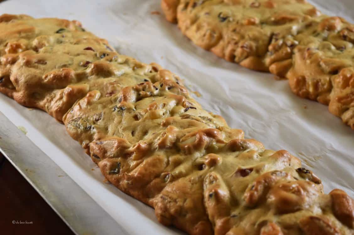 Baked loaves of biscotti.