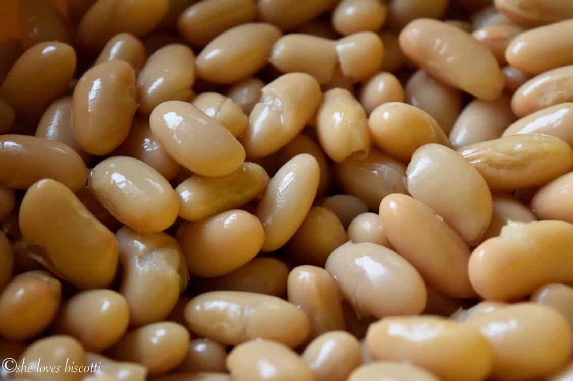 A close up of white kidney beans.