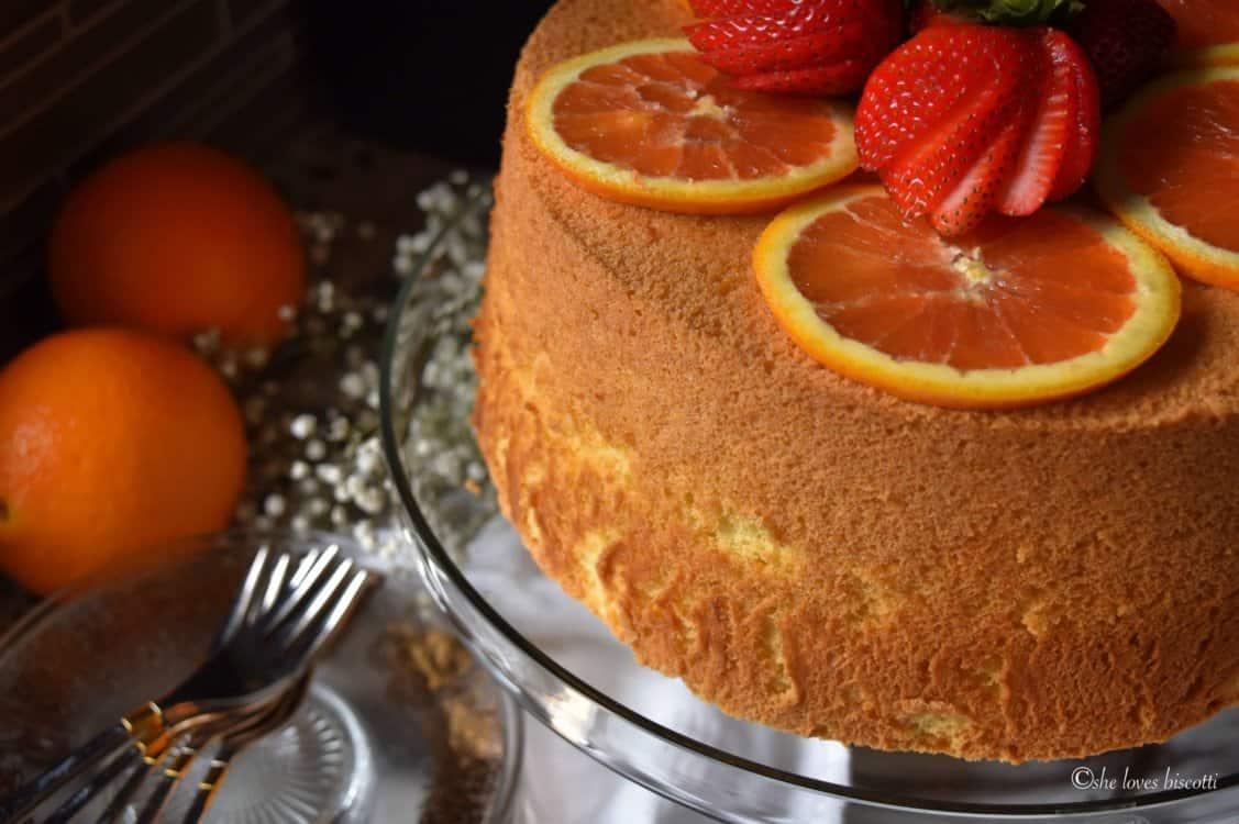 A side view of the Orange Chiffon Cake.