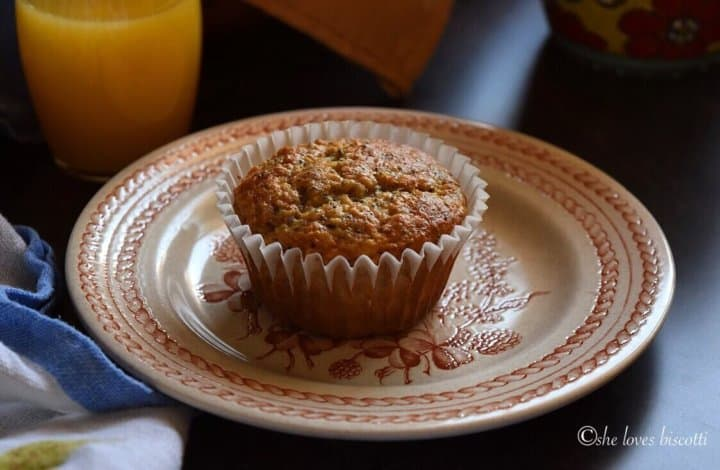 A close up of a Lemon Poppy Seed Buttermilk Oatmeal Muffins