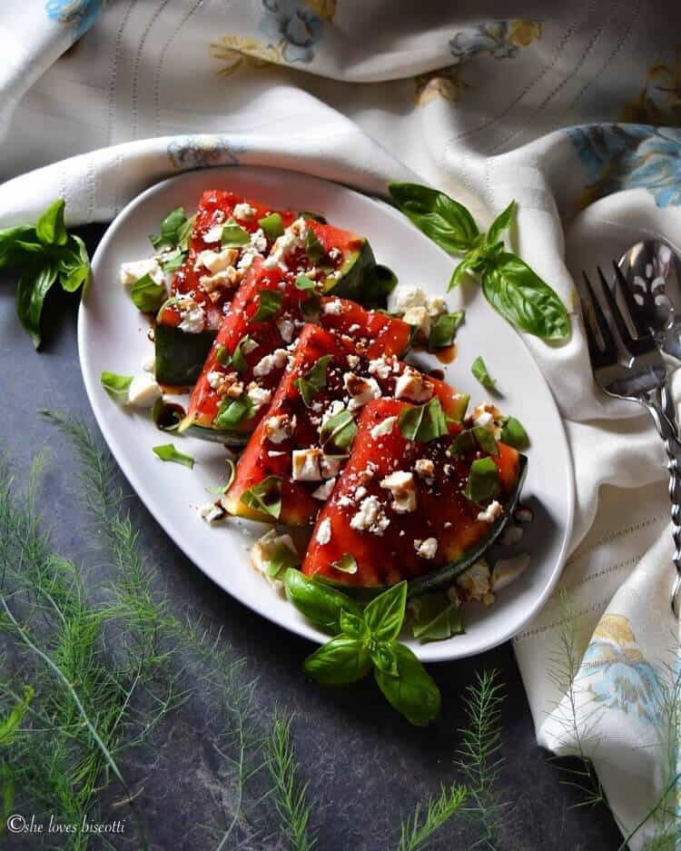 Basil Balsamic Ricotta Salata Grilled Watermelon