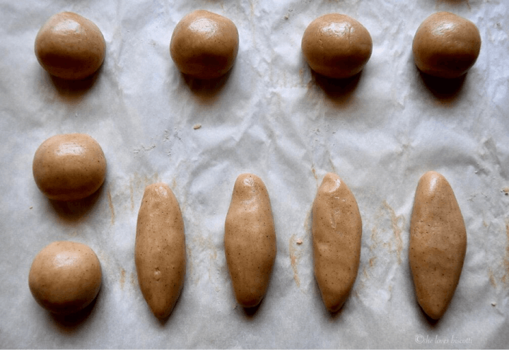 Honey Cinnamon Cookies rolled into oblong and round shapes before being baked.