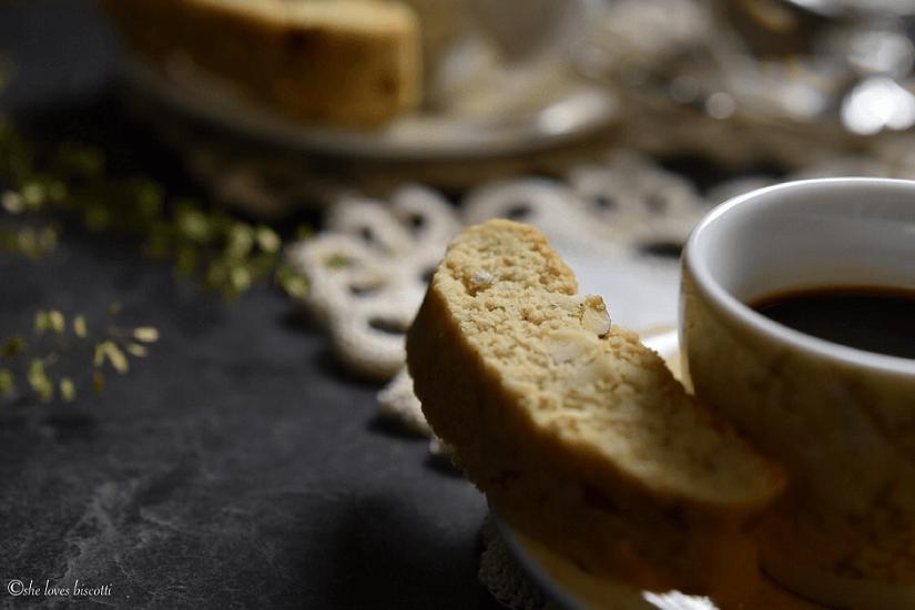 Close up of a sliced Almond Biscotti.