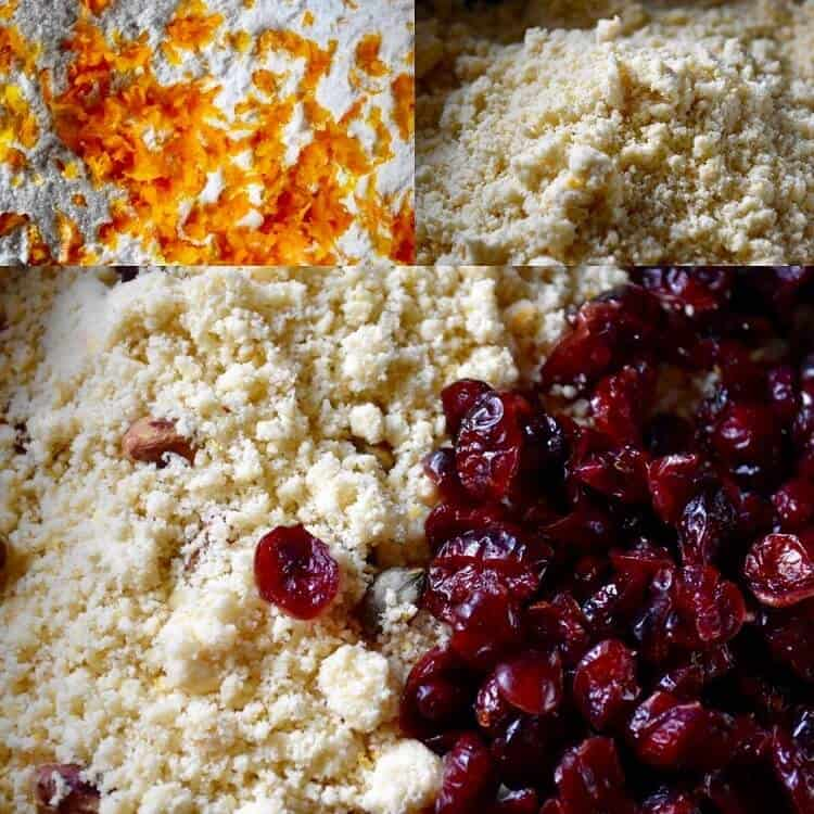 A picture collage showing 1- flour with orange zest 2- flour combined with egg yolks 3- addition of cranberries to the flour