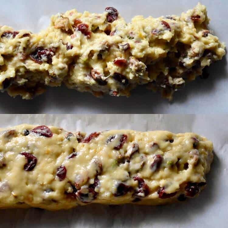 A picture collage showing the biscotti log before and after it is shaped