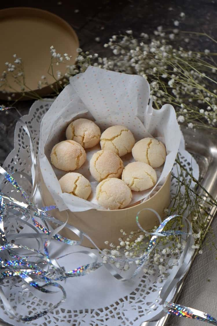 Gift packaged amaretti cookies.