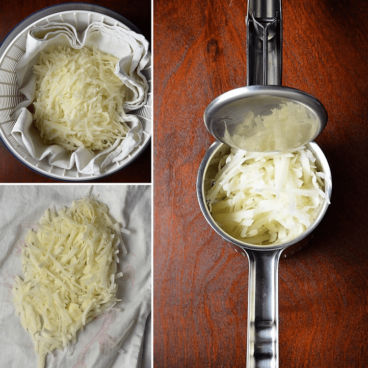 A photo collage of how to make hash browns by removing the excess water.