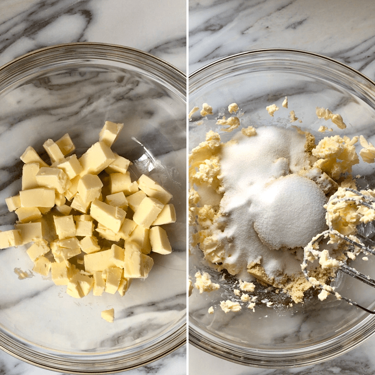 The process of creaming the butter with the sugars.