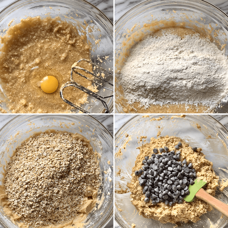 Different process shots showing the addition of the ingredients to make these Thick and Chewy Oatmeal Chocolate Chip Cookies.