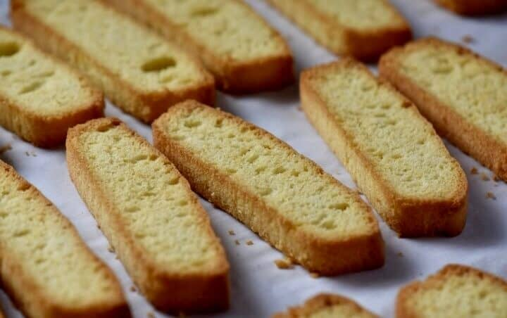 The anise biscotti have a golden color after the second bake.