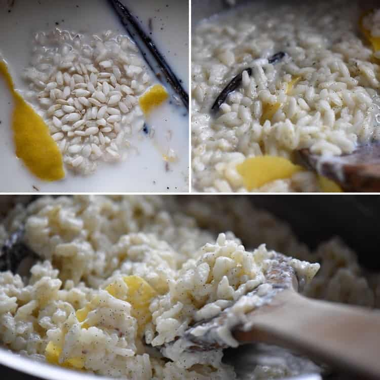 A step by step tutorial demonstrating the evaporation of milk as the arborio rice simmers.