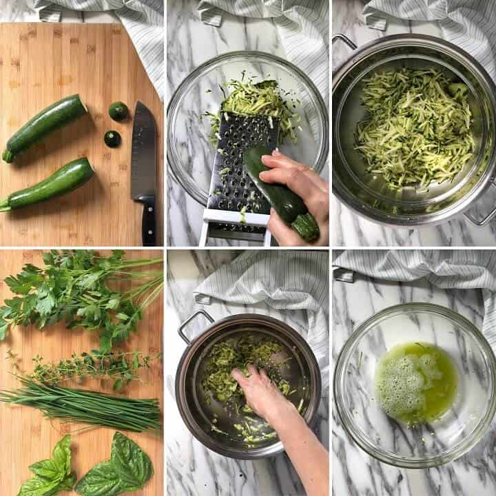 A step by step process of prepping the zucchini involves steps like using the large holes of a box grater to grate the zucchini and squeezing as much moisture as possible which will prevent the zucchini fritters from becoming soggy.