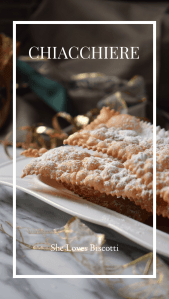 Light and crispy Italian cookies called crostoli placed on a white serving tray.