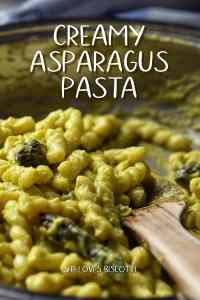 Gemelli pasta combined with creamy asparagus sauce.