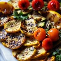 A few Grilled Vegetables on a platter.