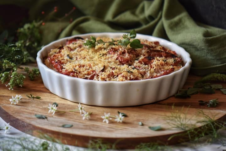 Panko bread crumbs top a vegetable casserole.