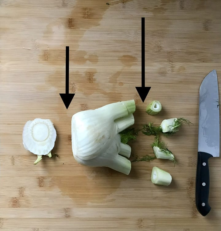 A fennel has been cut into three sections: the stalks and the fennel fronds, the bulb and the bottom root part.