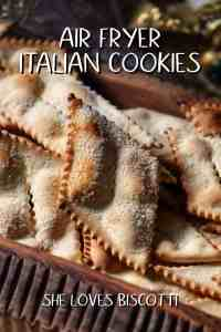 Air Fryer Italian Cookies (chiacchiere) in a wooden serving platter.