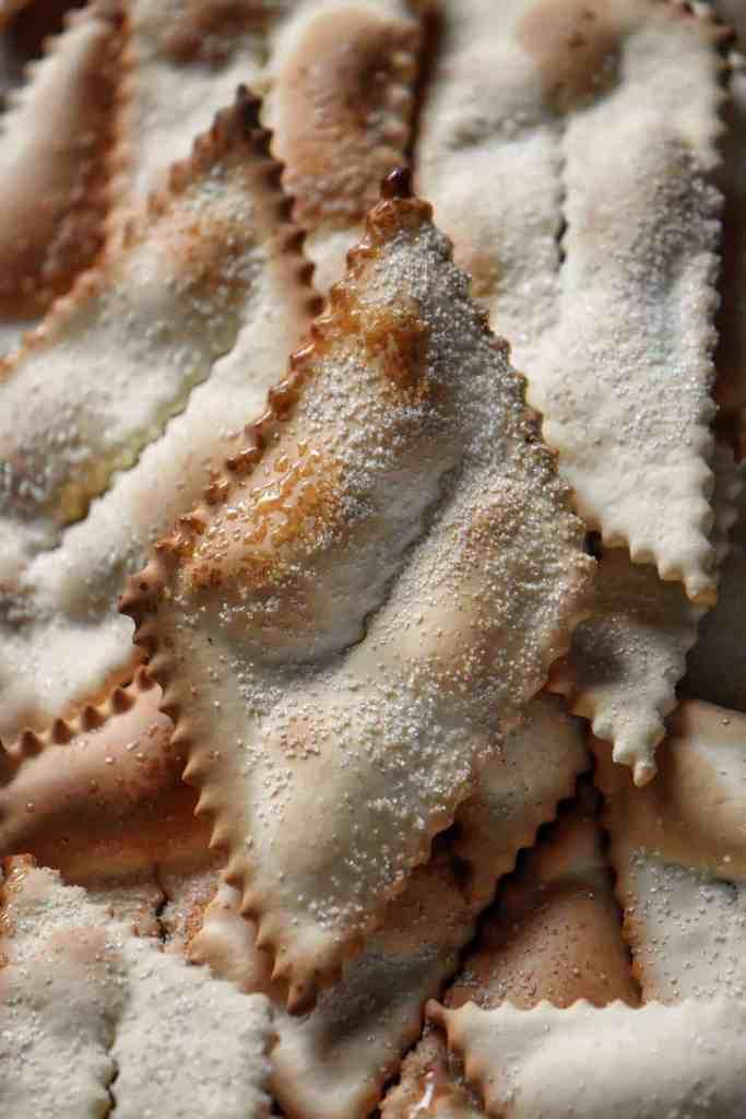 A close up shot of an Italian cookie made in an air fryer.