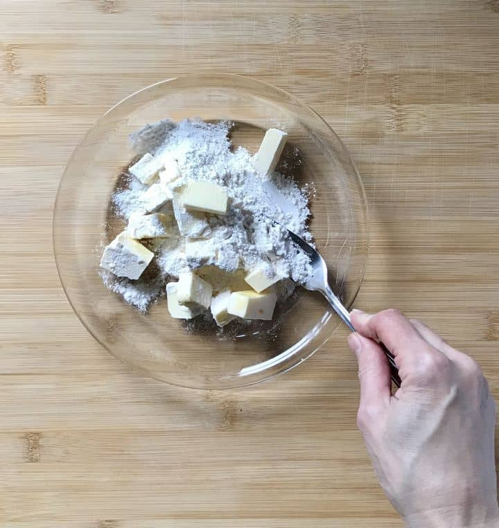 Butter is being combined with a fork to make a beurre Manié.