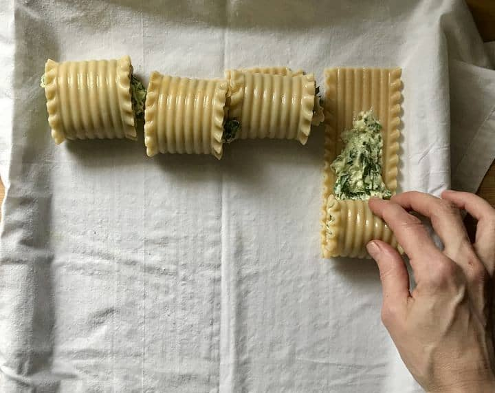 Rolling lasagna noodles filled with a spinach ricotta filling.