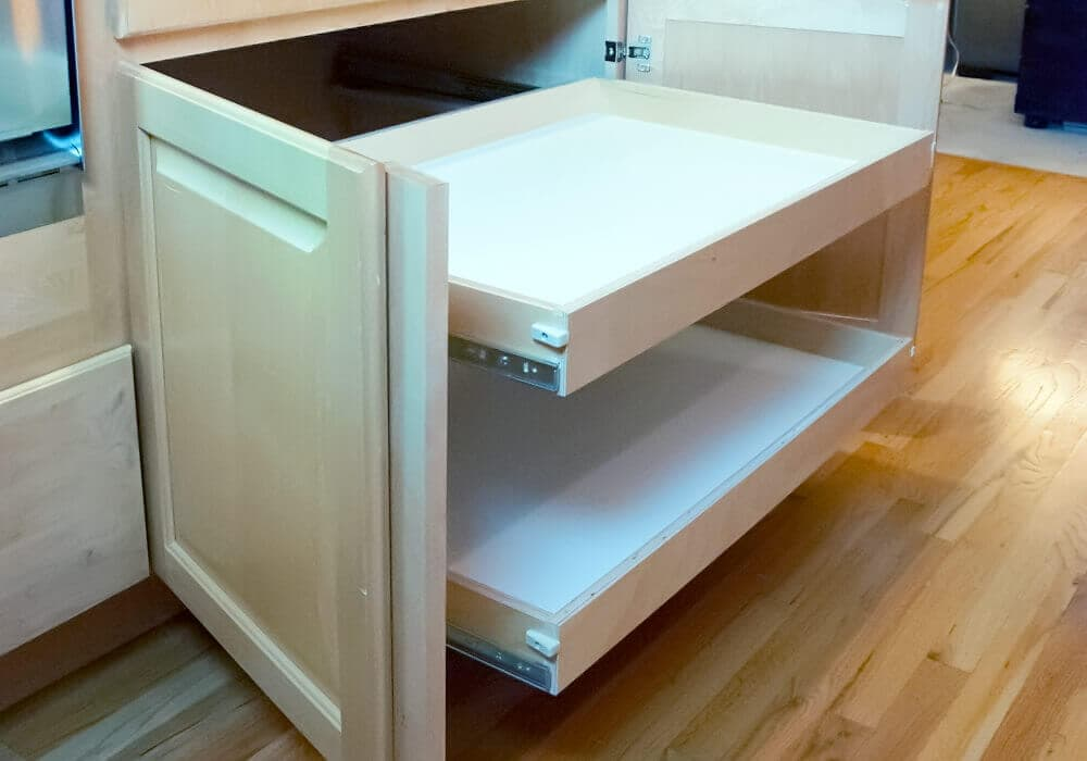 Custom roll out shelves for kitchen cabinets pantries