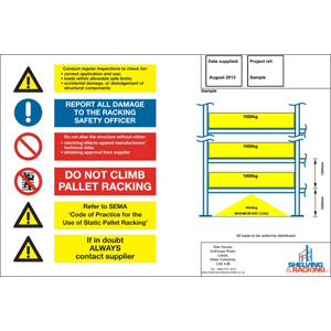 Pallet Racking Load Notice