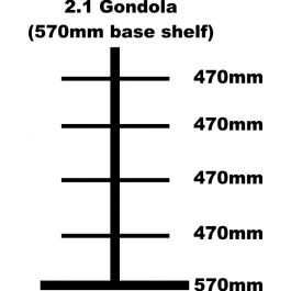 Gondola Bay, 2.1m High with 570mm Base Shelf and 4 x 470mm